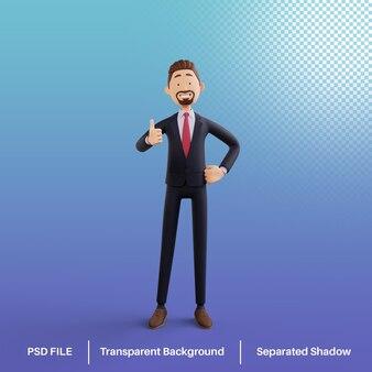 Personaje de hombre de negocios 3d da un pulgar hacia arriba psd premium