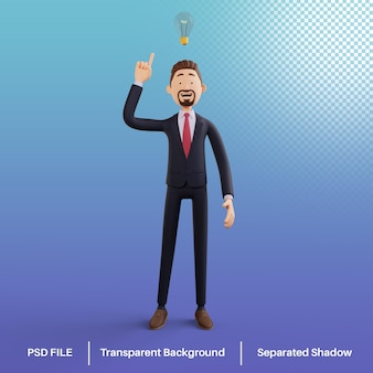 Personaje de hombre de negocios 3d que tiene una idea premium psd