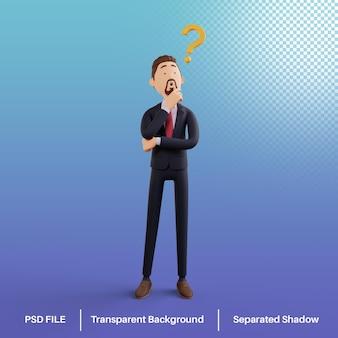 Personaje de hombre de negocios 3d con signo de interrogación psd premium