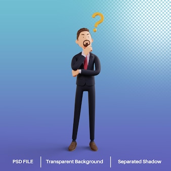 Personaje de hombre de negocios 3d con signos de interrogación psd premium