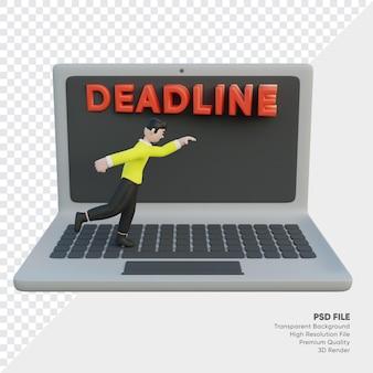 El personaje del hombre está siendo perseguido por una fecha límite en la computadora portátil renderizada en 3d
