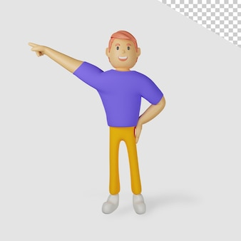 Personaje masculino 3d apuntando