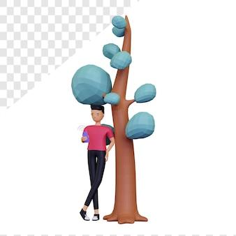 Personaje masculino 3d jugando smartphone apoyado contra el árbol