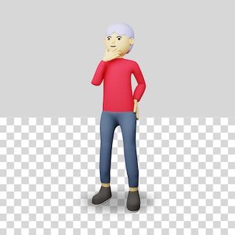 Personaje masculino 3d pensando en una idea