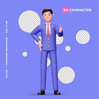 Personaje masculino 3d pose de pulgar hacia arriba con fondo transparente