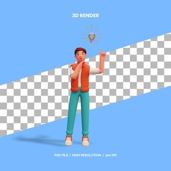 Personaje masculino de renderizado 3d que tiene una idea