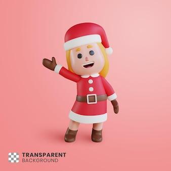 Personaje de niña 3d santa claus agitando su mano