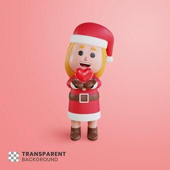 Personaje de niña 3d santa claus con signo de corazón en su mano