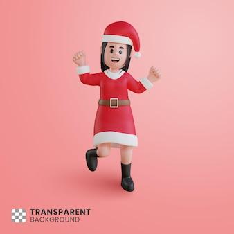 Personaje de niña 3d con traje de santa claus saltando alegremente