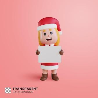 Personaje de niña linda 3d santa claus sosteniendo papel en blanco