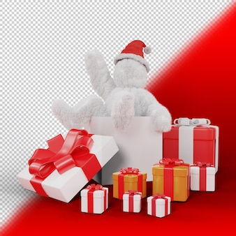 Personaje de pelo en caja de regalo grande., objeto de navidad 3d render
