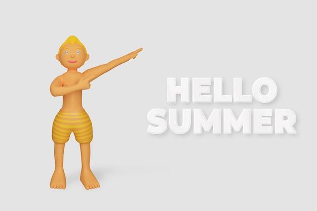 Personaje de render 3d apuntando plantilla de verano