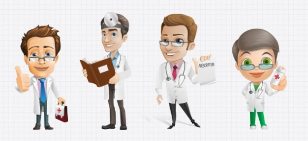 Personajes de dibujos animados médico psd