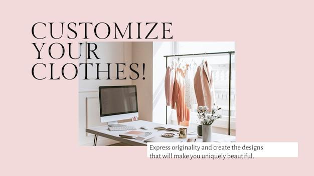 Personaliza tu plantilla de presentación psd de ropa