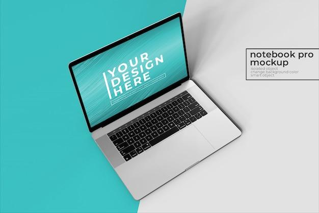 Personalizable, realista, fácil, personal, portátil de 15 pulgadas pro para web, interfaz de usuario y maquetas de aplicaciones ss en la vista frontal izquierda