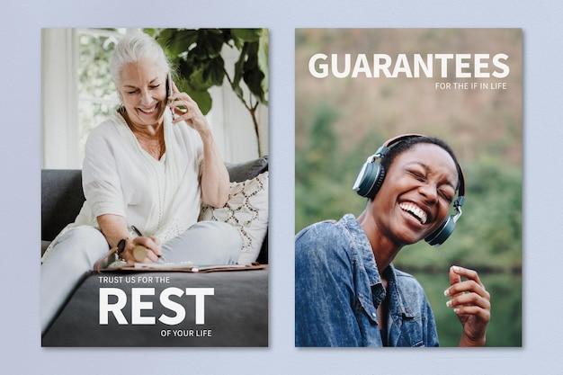 Persoonlijke levensverzekering sjabloon psd advertentie poster dubbele set