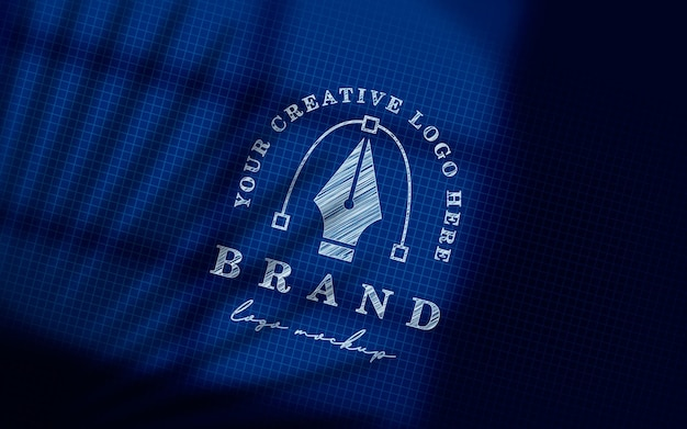 Perspectief blauwdruk schets logo mockup