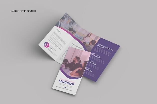 Perspectief driebladige brochure mockup
