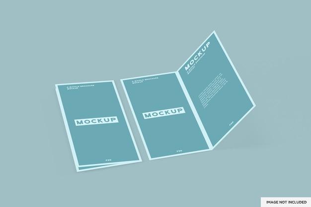 Perspectief tweevoudige brochure mockup