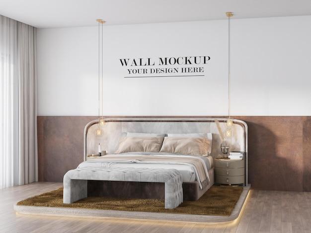 Perspectief weergave art deco stijl slaapkamer muur mockup