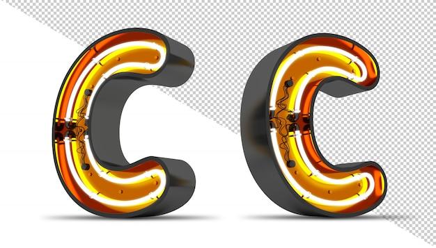 Perspectiva alfabeto luz de neón 3d ilustración de representación.