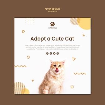 Pet adoptie vierkante flyer stijl