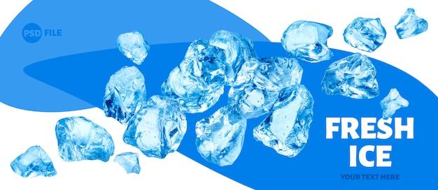 Pezzi di ghiaccio che cadono, mucchio di ghiaccio tritato