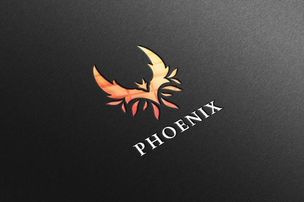 Phoenix logo mockup in zwart papier met reflectie