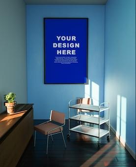 Photo frame mockup design space in room