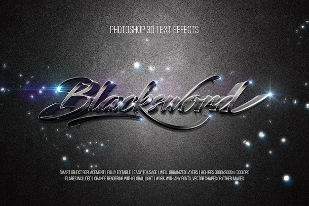 Photoshop efectos de texto en 3d espada negra