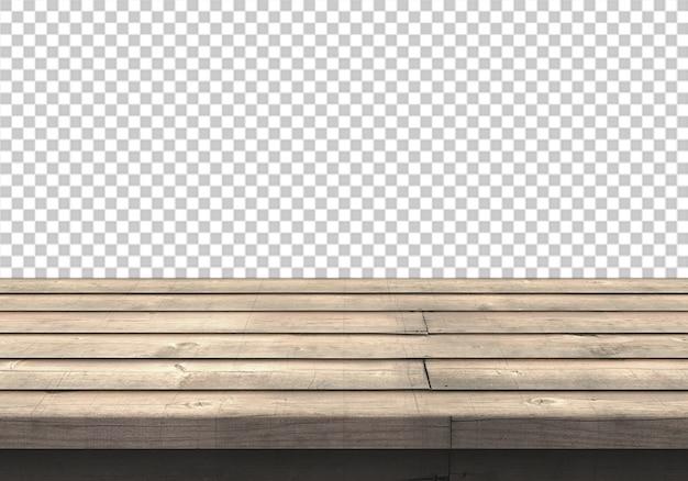 Piano d'appoggio di legno isolato su trasparente