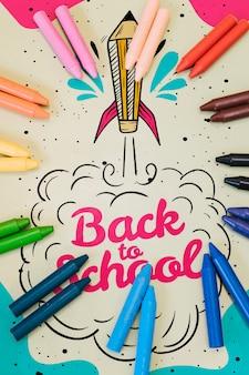 Piano disteso colorato a scuola mock-up