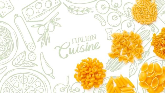 Piatto lay mix di pasta cruda con sfondo disegnato a mano