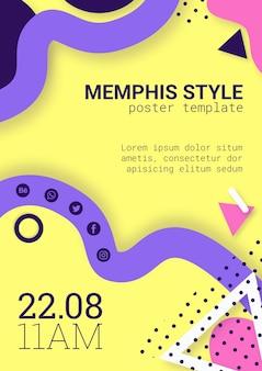 Piatto poster di stile memphis giallo