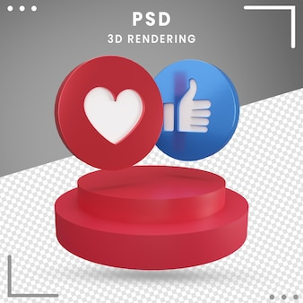 Pictogram 3d gedraaid logo facebook 3d-rendering