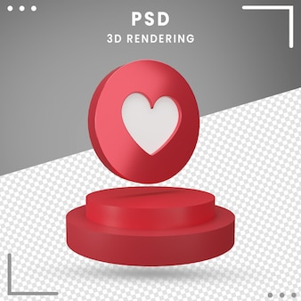Pictogram 3d gedraaid logo love facebook 3d-rendering