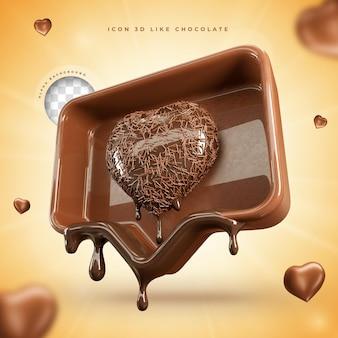 Pictogram zoals sociale media chocolade pasen 3d render