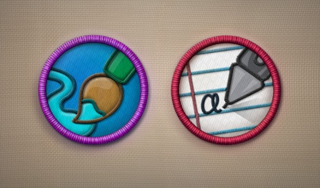 Pictogrammen verdienste badges psd