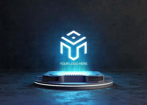 Piedistallo futuristico per mockup del logo