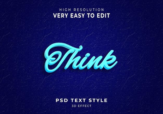 Piensa en el estilo de texto en 3d