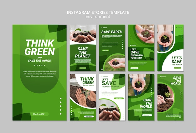 Piensa en la plantilla verde de historias de instagram