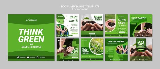 Piensa en una plantilla verde de publicación en redes sociales
