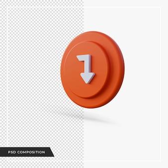 Pijl hoek naar beneden oranje pictogram 3d render