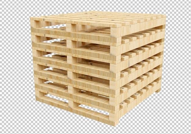 Pila de paleta de madera vacía aislada en 3d rendering