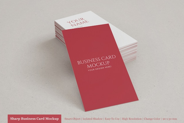 Pila realista y editable de maqueta de tarjeta de visita con textura vertical de 90x50