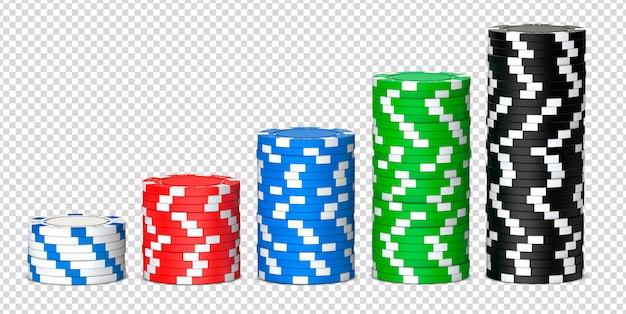 Pilas de fichas de póquer de casino