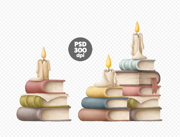Pilas de libros con velas conjunto aislado