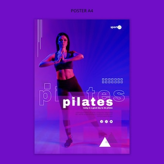 Pilates training poster sjabloon