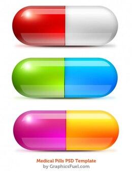 Píldoras médicas coloridas psd