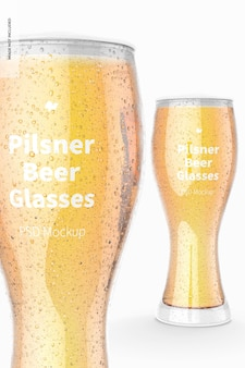 Pilsner bierglazen mockup, close-up
